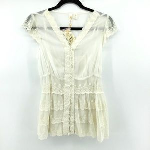 Adiva | Button Front Lace Top